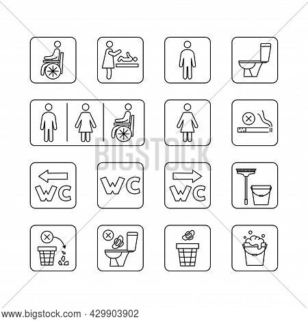 Restroom Icons. Man, Woman, Wheelchair Person Symbol And Baby Changing. Stop Smoke And Pollution In