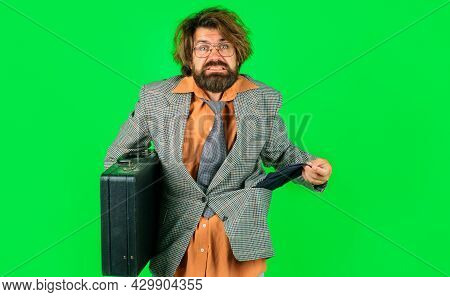 Bankrupt Businessman With Empty Pocket And Briefcase. Dismissal From Work. Unemployed Guy. Failure A