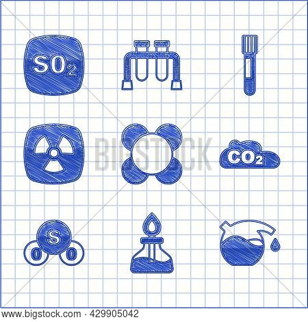 Set Molecule, Alcohol Or Spirit Burner, Test Tube, Co2 Emissions In Cloud, Sulfur Dioxide So2, Radio