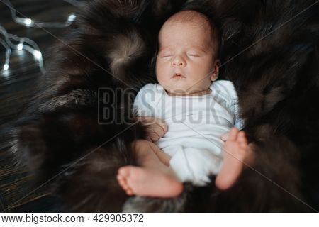Newborn Is Sleeping Peacefully On A Fur Blanket.
