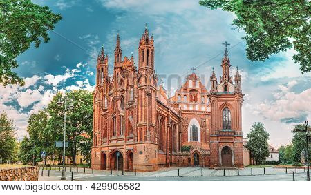 Vilnius, Lithuania. Panoramic View Of Roman Catholic Church Of St. Anne And Church Of St. Francis An