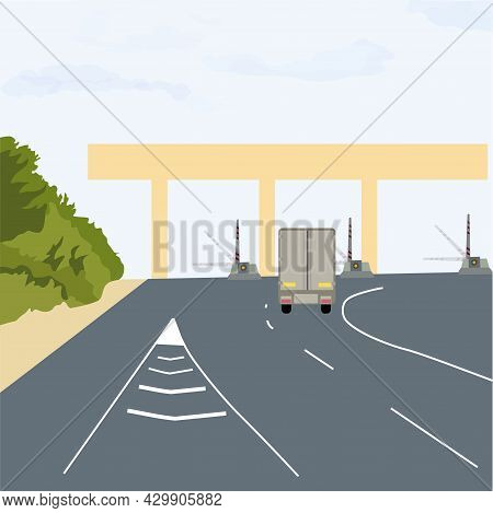 Checkpoint Of Collection On Autobahn And Toll Road . Car And Roadside Point. Highway Toll Area With