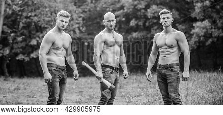 Never Stop. Sports And Leisure. Mesomorph. Three Muscular Men With Axe. Athletic Man Use Ax. Bodybui