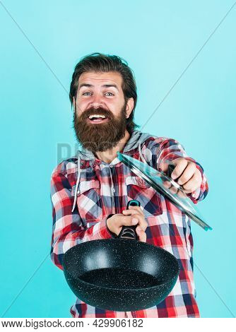 Just Smell It. Man Holding Frying Pan.. Male Chef Kitchener Cooking. Hipster Checkered Shirt For Bea