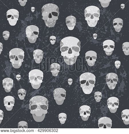 Creepy Seamless Pattern With Greyscale Skulls And Textures On The Dark Background. Sand And Leaves T