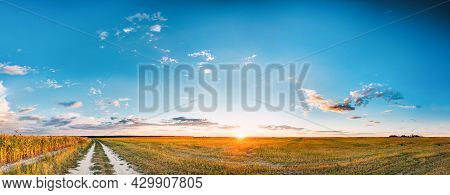 Sunset, Sunrise Over Rural Meadow Field And Country Open Road. Countryside Landscape With Path Way U