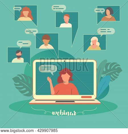 Webinar On A Remote Computer. Employees Who Are Studying Or Meeting Online. Flat Icons Of People On