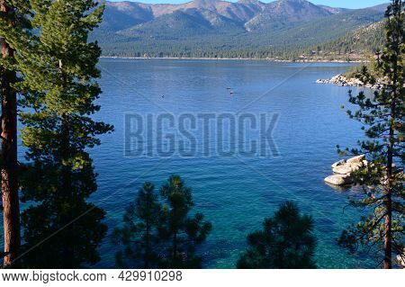 Autumn Overlook Of Picturesque Lake Tahoe From Nevada Shoreline, With Humboldt Toiyabe National Fore