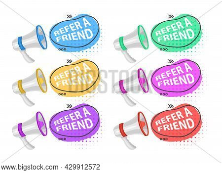 Share Media Information Refer Friend Loudspeaker Isolated Icon Program Or App Network And Media Post