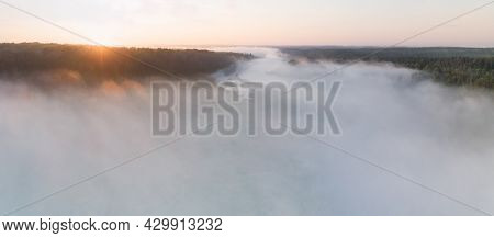 Sunrise On The Volga River, Aerial View Of Morning Mist At Sunrise, Morning Mist On The River,  Aeri