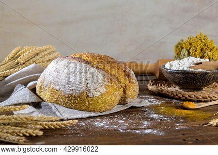 Homemade Crispy Turmeric Bread, On A Kitchen Countertop.