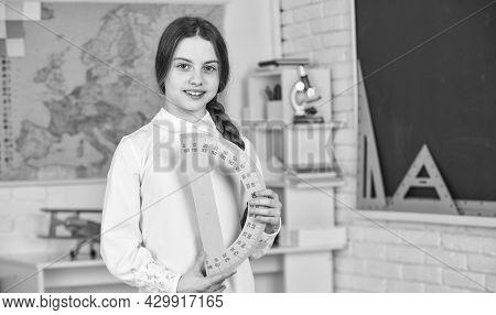 Start The Brain Engine. School Girl Hold Protractor Rule. Instrument Of Measurement. Different Schoo