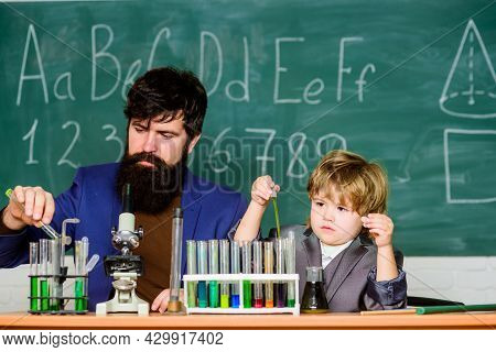 Special And Unique. Genius Kid. Joys And Challenges Raising Gifted Child. Teacher Bearded Scientist