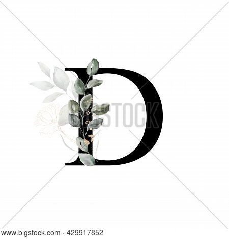Capital Letter D Decorated With Golden Flower And Leaves. Letter Of The English Alphabet With Floral