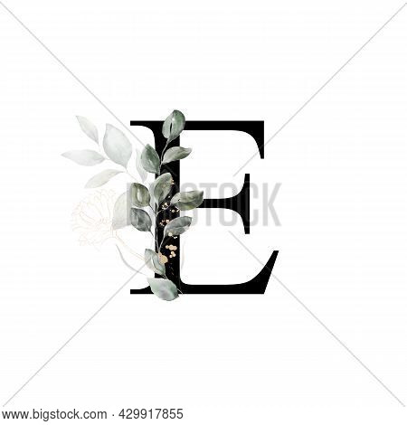 Capital Letter E Decorated With Golden Flower And Leaves. Letter Of The English Alphabet With Floral