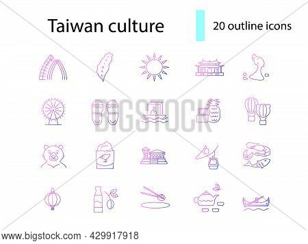 Taiwanese Items Outline Icons Set. Taiwan Features. Oriental National Culture. Isolated Vector Stock