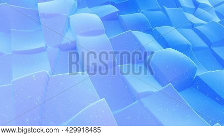 Beautiful Abstract 3d Surface With Glitter Sparkles, Abstract 3d Waves On Surface. Blue Gradient, So