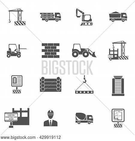 Construction Icons Flat Black Set With Bulldozer Mixer And Lifter Isolated Vector Illustration