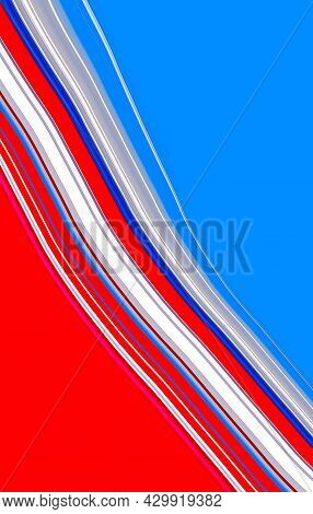 Abstract Bright White, Blue And Red Waving Geometric Lines On Empty Background. Art Trippy Digital B