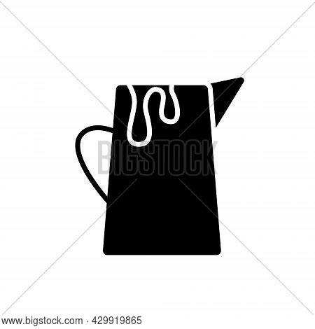 Milk Jug Glyph Icon. Creamer For Coffee. Barista Tool. Black Silhouette Symbol. Isolated Vector Stoc