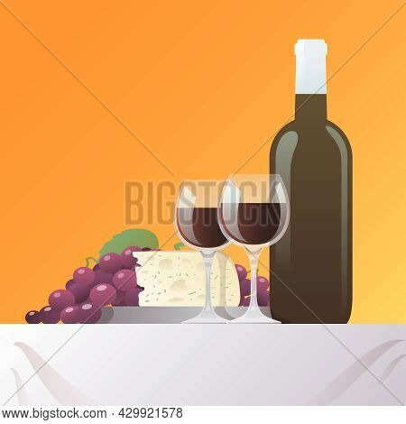 Red Wine Bottle And Glasses With Grape And Cheese Still Life Vector Illustration