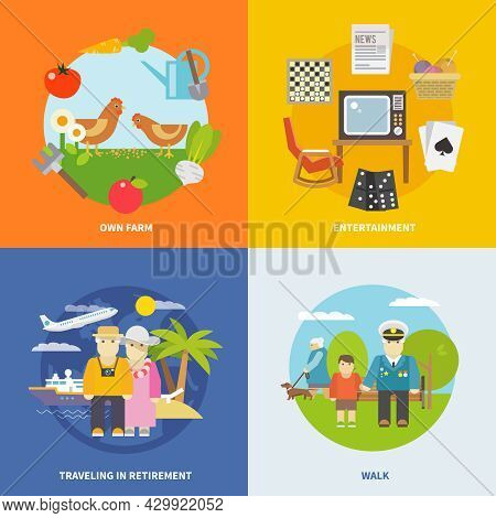 Pensioners Life Design Concept Set With Retirement  Entertainment And Travel Flat Icons Isolated Vec