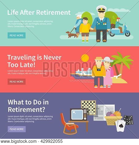 Pensioners Life Horizontal Banner Set With Retirement Enetertainment Flat Elements Isolated Vector I