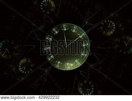 Interplay Of Clock Dials And Abstract Elements. Steampunk Watch Fractal Background. Digital Artwork