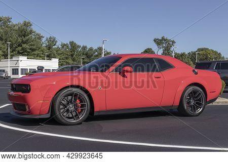 Kokomo - Circa August 2021: Dodge Challenger Display At A Dealership. The Stellantis Subsidiaries Of