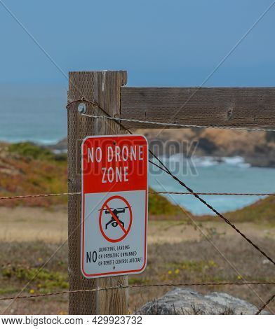 No Launching Of Drones On The Pacific Coast Of Mackerricher State Park, Fort Bragg, Mendocino County
