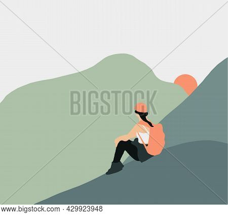 Woman With Backpack Sitting On A Cliff Looking Sunset. Minimalist Style, Flat Design. Travel Concept