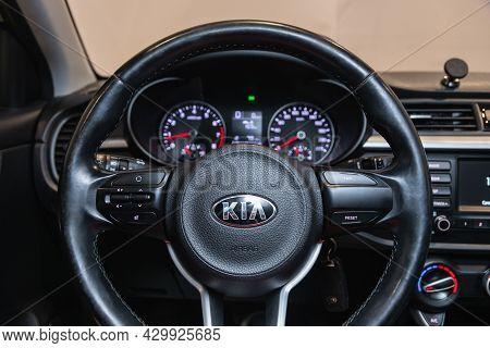 Novosibirsk, Russia - July 21, 2021: Kia Rio,   Cockpit Interior Cabin Details, Speedometer And Tach