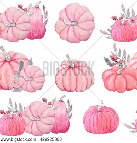 Hand Drawn Watercolor Seamless Pattern Of Fall Autumn Pastel Soft Pink Pumpkins With Grey Leaves And