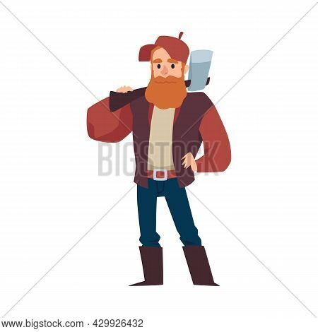 Woodcutter Or Lumberjack With Axe On Shoulder, Flat Vector Illustration Isolated.