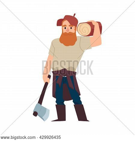 Lumberjack Or Woodcutter With Timber And Axe Flat Vector Illustration Isolated.
