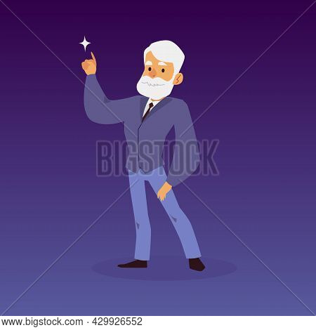 Astronomy Scientist, Stargazer Or Astronomer Flat Vector Illustration Isolated.
