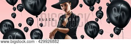 Beautiful Girl And The Inscription Black Friday On A Pink Background. Sale Flyer, Discount Banner, S