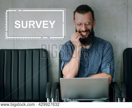 Business Survey. Online Feedback. Service Quality Report. Satisfied Smiling Happy Male Customer Rati