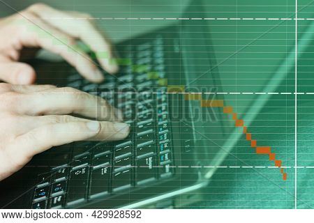 Online Business Recession. Fintech Marketing. Digital Data Research. Male Ceo Hands Typing On Laptop