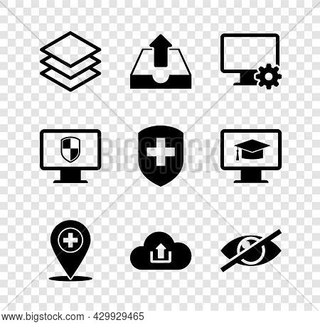 Set Layers, Upload Inbox, Computer Monitor And Gear, Medical Location With Cross, Cloud Upload And I