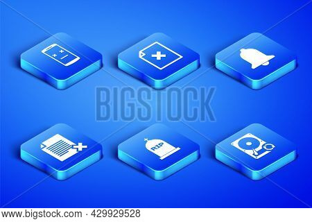 Set Hard Disk Drive Hdd Sync Refresh, Dead Mobile, Tombstone With Rip Written, Delete File Document,