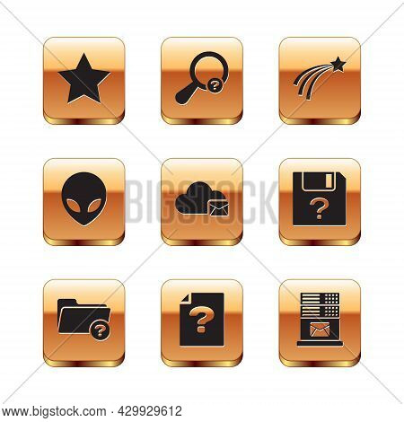 Set Star, Unknown Directory, Document, Cloud Mail Server, Alien And Falling Star Icon. Vector