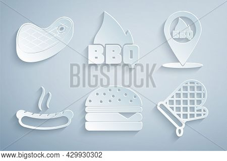 Set Burger, Location With Barbecue, Hotdog Sandwich, Oven Glove, Barbecue Fire Flame And Steak Meat