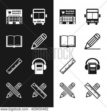 Set Pencil And Line, Open Book, Supermarket Building, Bus, Ruler, Audio, Crossed Ruler Pencil And Ic
