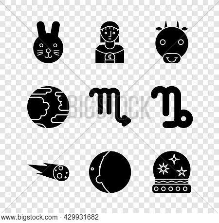 Set Rabbit Zodiac, Astrology Woman, Ox, Comet Falling Down Fast, Eclipse Of The Sun, Magic Ball, Pla