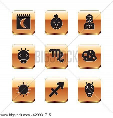 Set Moon Phases Calendar, Sun, Sagittarius Zodiac, Virgo, Ox, Astrology Woman, Horse And Rooster Ico