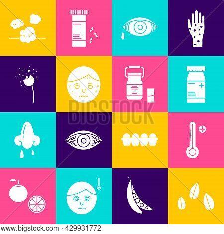 Set Sesame Seeds, Medical Digital Thermometer, Medicine Bottle And Pills, Reddish Eye Allergic Conju