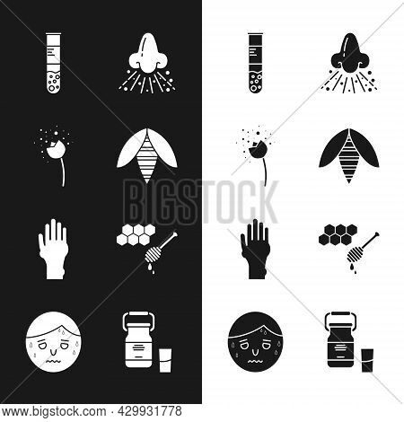 Set Bee, Flower Producing Pollen, Test Tube And Flask, Runny Nose, Hand With Psoriasis Or Eczema, Ho