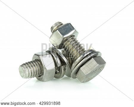 Stainless Steel Bolt And Nut Isolated On White Background