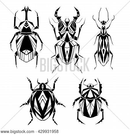 Set Of Geometric Monochrome Insects With Poly Decorations. Vector Black Silhouette Of Geometrical St